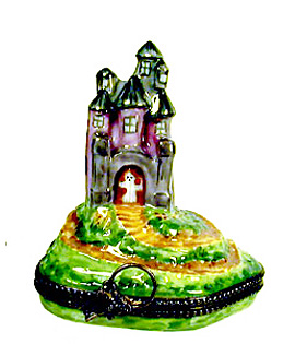 Limoges box haunted house with removable ghost