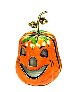 Jack o' lantern Limoges box with cut outs and metal stem