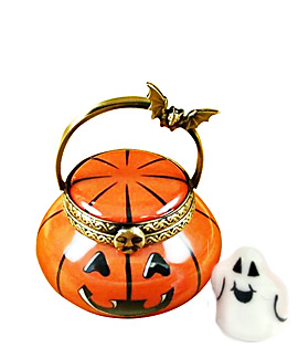 jack o lantern basket with ghost inside Limoges box
