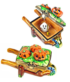 Limoges box wheelbarrow with jack olanterns and ghost farmer inside