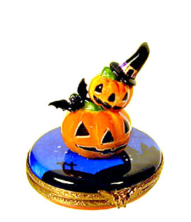 Limoges box stacking Jack o lanterns with bat and witch hat