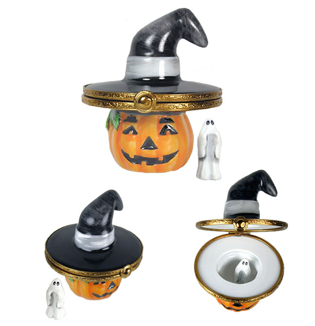 Artoria Jack O Lantern with Hat Limoges Box