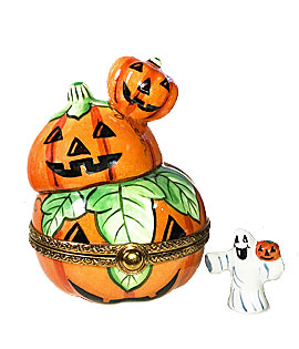 Three stacked Jack o' lanterns limoges box with ghost