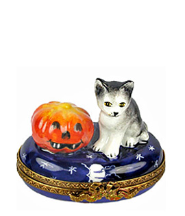 kitten with jack o lantern Limoges box with night sky decor