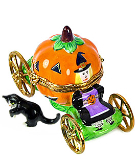 Pumpkin carriage Limoges box with witch driver and cat
