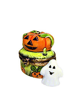 pumpkin on ghost decor small Limoges box