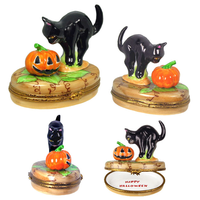 Limoges box black cat meeting jack o'lantern