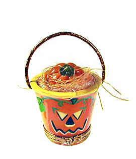 Limoges box Halloween pail with straw and pumpkin