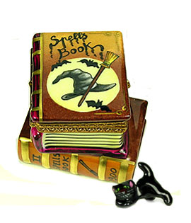 Limoges box Magic Spells books with Cat