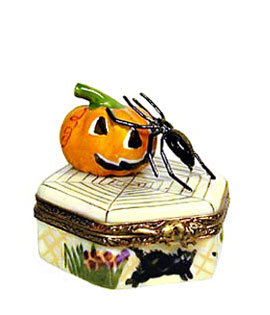 spider with jack o' lantern Limoges box