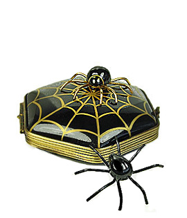 Limoges box spiders with gold web