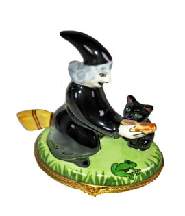Witch on broom Limoges box with cat