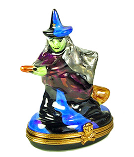 Green face witch on broom Limoges box