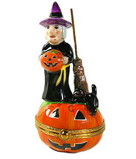 Witch with Jack o' Lantern Limoges box