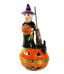 Limoges box witch on jack o lantern with broom