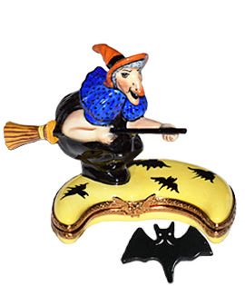 Witch riding over crescent moon Limoges box with bat