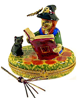 witch reading to cat Limoges box with wire broom