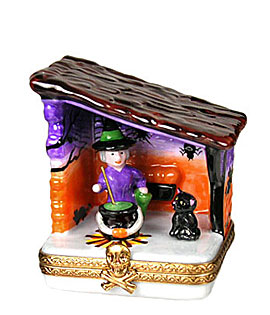 Limoges box witch and cat in Halloween shed with cauldron