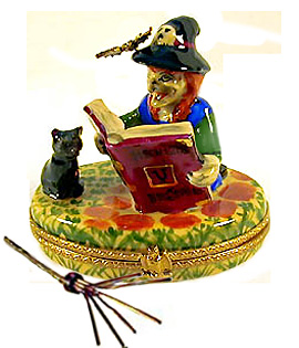 Limoges box witch reading to cat with wire broom