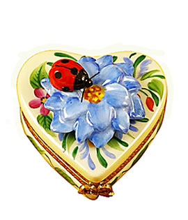 Limoges box heart with blue flower and lady bug