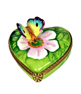 pastel butterfly on heart limoges box