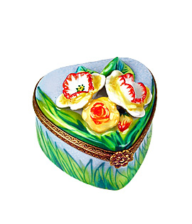 Limoges box heart with spring jonquils