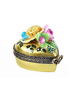 gold heart Limoges box with spring hat and flowers