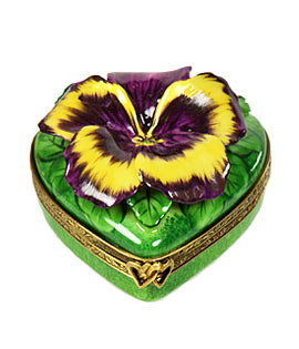 multi color pansy on limoges box heart