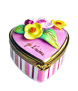 pink stripes and flowers heart Limoges box