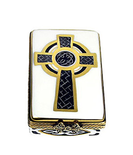 Limoges box Irish celtic cross