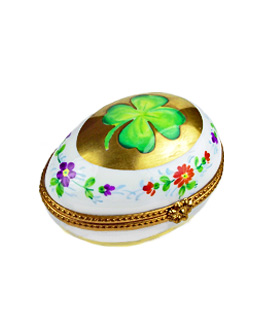 classic egg shape Limoges box wth shamrock and flowers