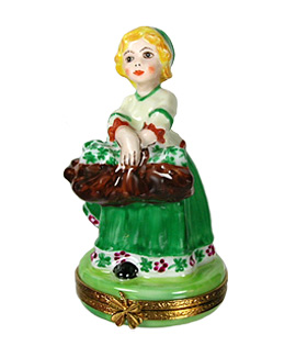 Irish girl Limoges box with basket of shamrocks