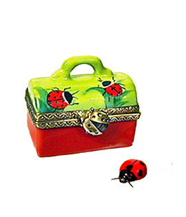 Lady bug case Limoges box with porcelain ladybug