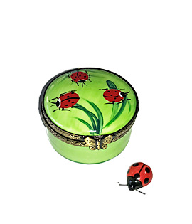 small round ladybugs Limoges box