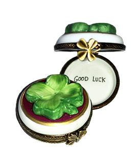 round shamrock Good Luck Limoge box