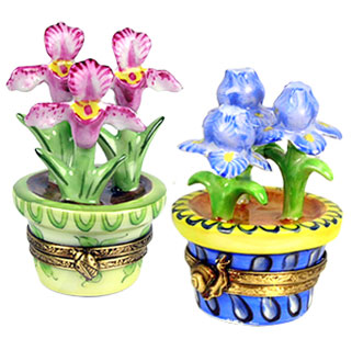 cachepot Limoges boxes -  iris and orchid from Chamart