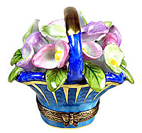 blue and gold basket with pastel cala lilies Limoges box