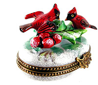 Limoges box cardinals on snow with holly and inside painting and pinecone