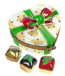 Christmas candies in heart shaped Limoges box