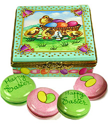 Limoges box four Easter macarons in carton