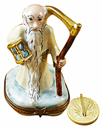 Father Time Limoges box with scythe, hour glass and sundial