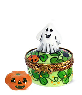 mini ghost on colorful round Limoges box with jack o lanten