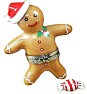 Limoges box gingerbread boy with candy mint Limoges box