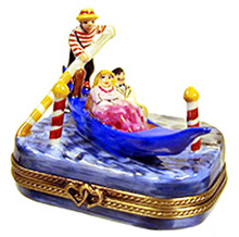 Limoges box couple riding Venice gondola