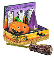 Halloween calendarLimoges box with witch broom, hat, and Jack o'lantern