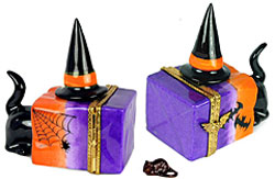 Black cat in Halloween bag Limoges box with witch hat and mouse