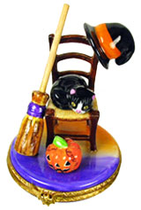 Halloween chair with cat, witch hat, broom and Jack o lantern