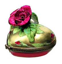 red rose on gold heart Limoges box
