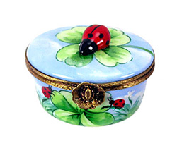Limoges box oval with clover and ladybug