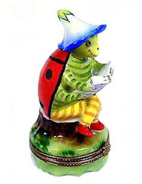 ladybug reading limoges box